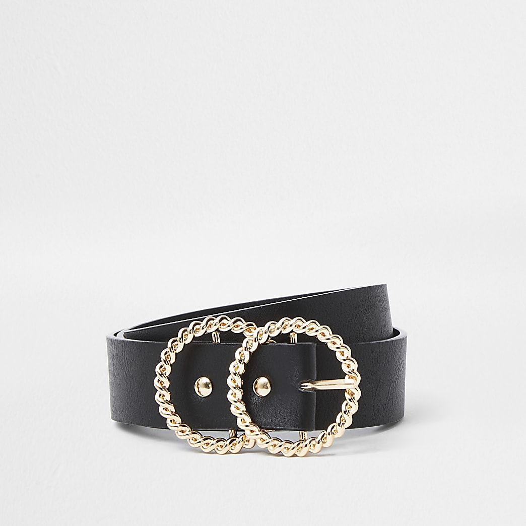 Black chain textured gold double ring belt