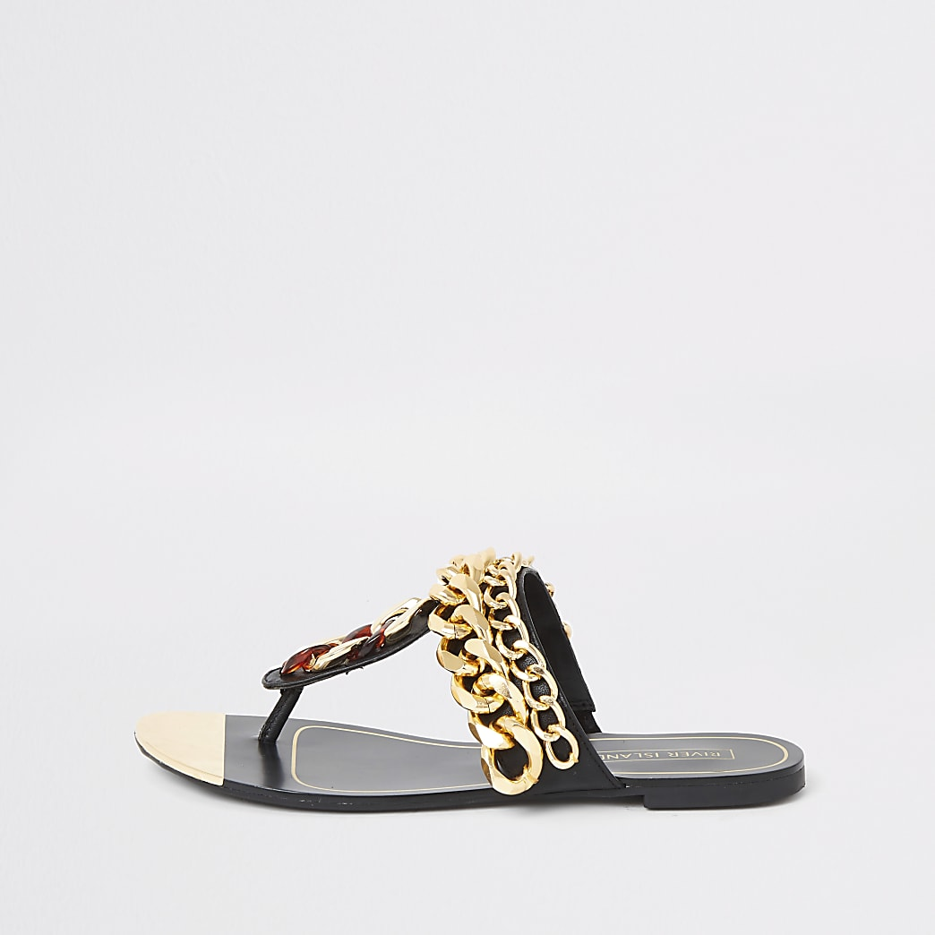 Black chain toe thong sandals