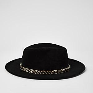 Chapeau fedoraà bordure en chaîne noir