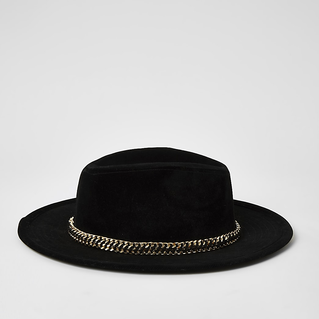 Black chain trim Fedora hat