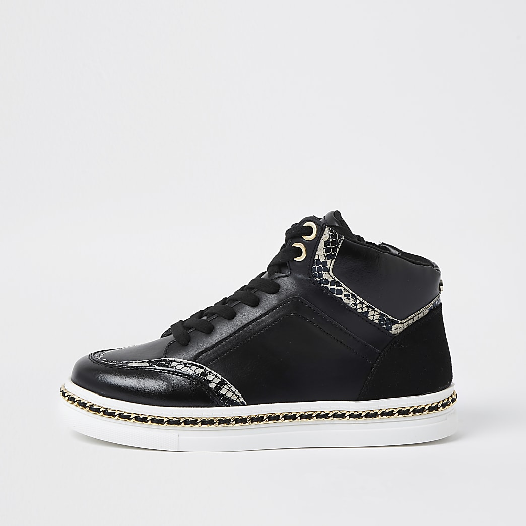 Black chain trim high top trainers