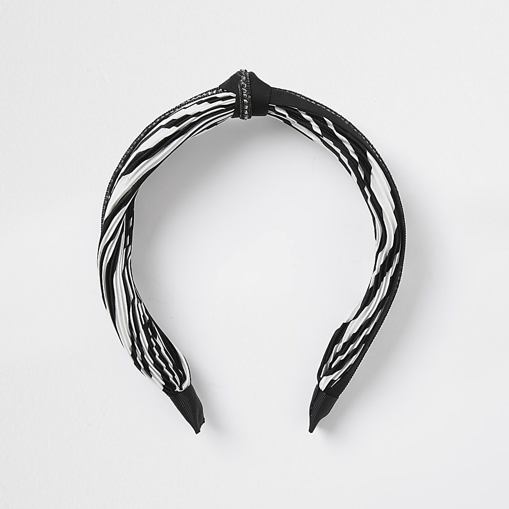 Black chain trim zebra print headband