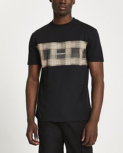 Black check block graphic t-shirt