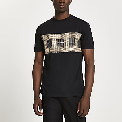 Black check block '(Les) Ensemble' t-shirt
