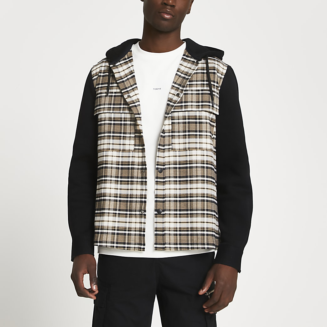 Black check block shacket