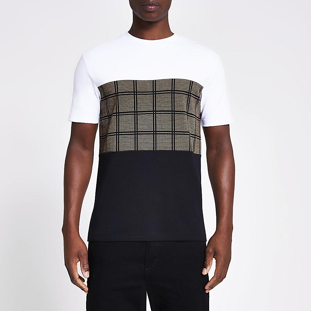 T-shirt à carreaux colour block noir à manches courtes