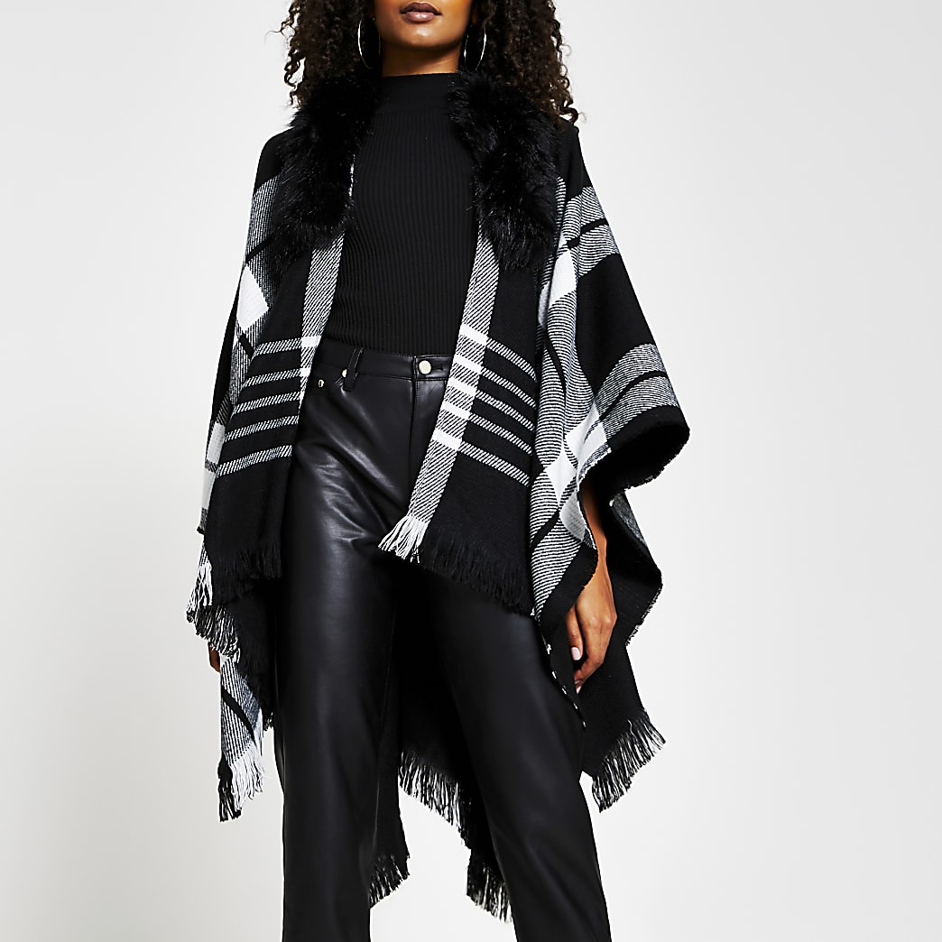 Black check cape faux fur collar jacket