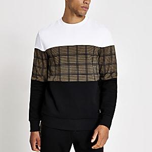 Zwarte geruite sweater met kleurvlakken