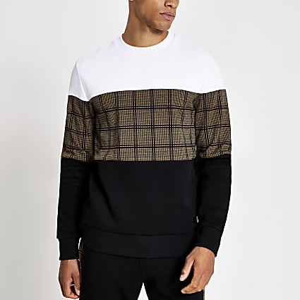 Black check colour blocked sweatshirt