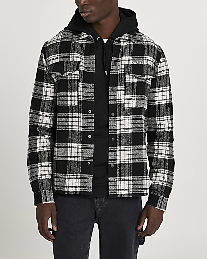 Black check 'CORP STUDIOS' long sleeve shirt