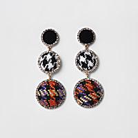 Black check diamante boucle drop earrings