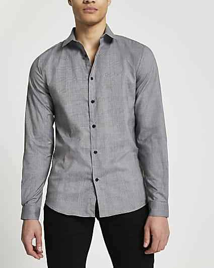 Black check muscle fit long sleeve shirt