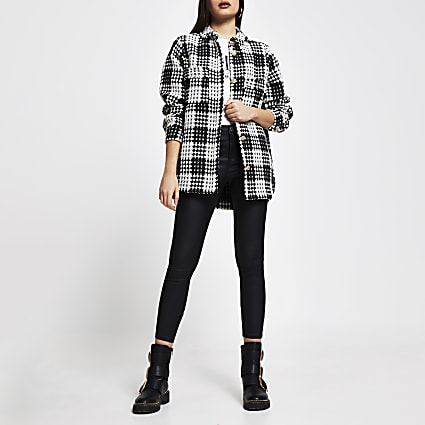 Black check print boucle shacket