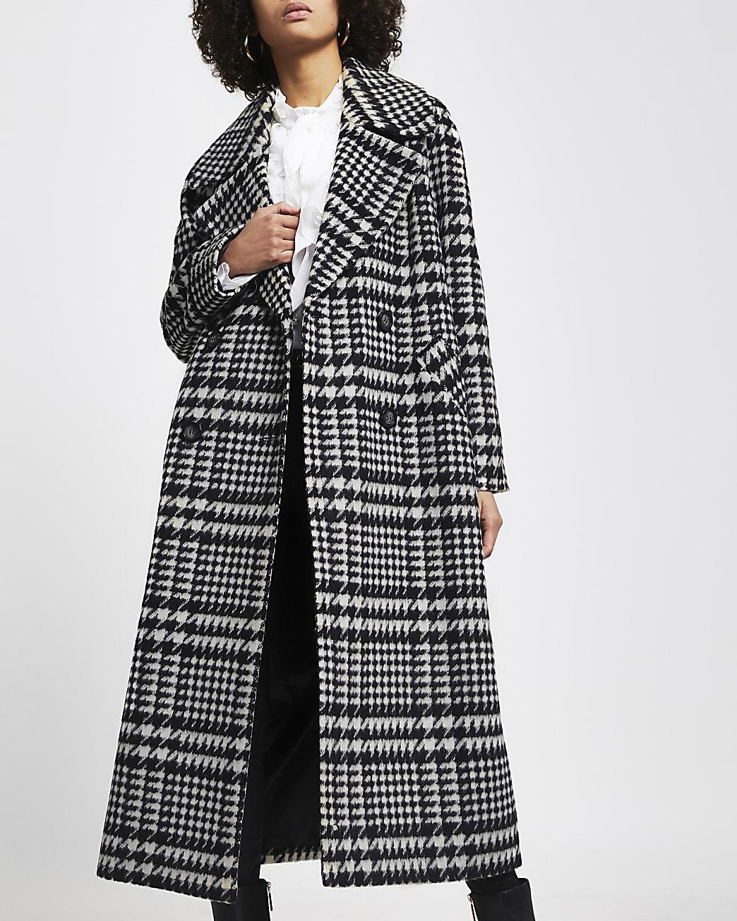 Black check print oversized longline coat