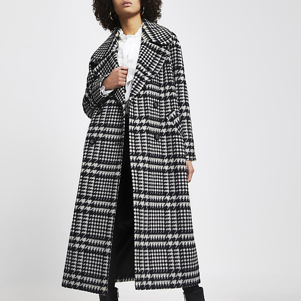 Black check print oversized longline coat