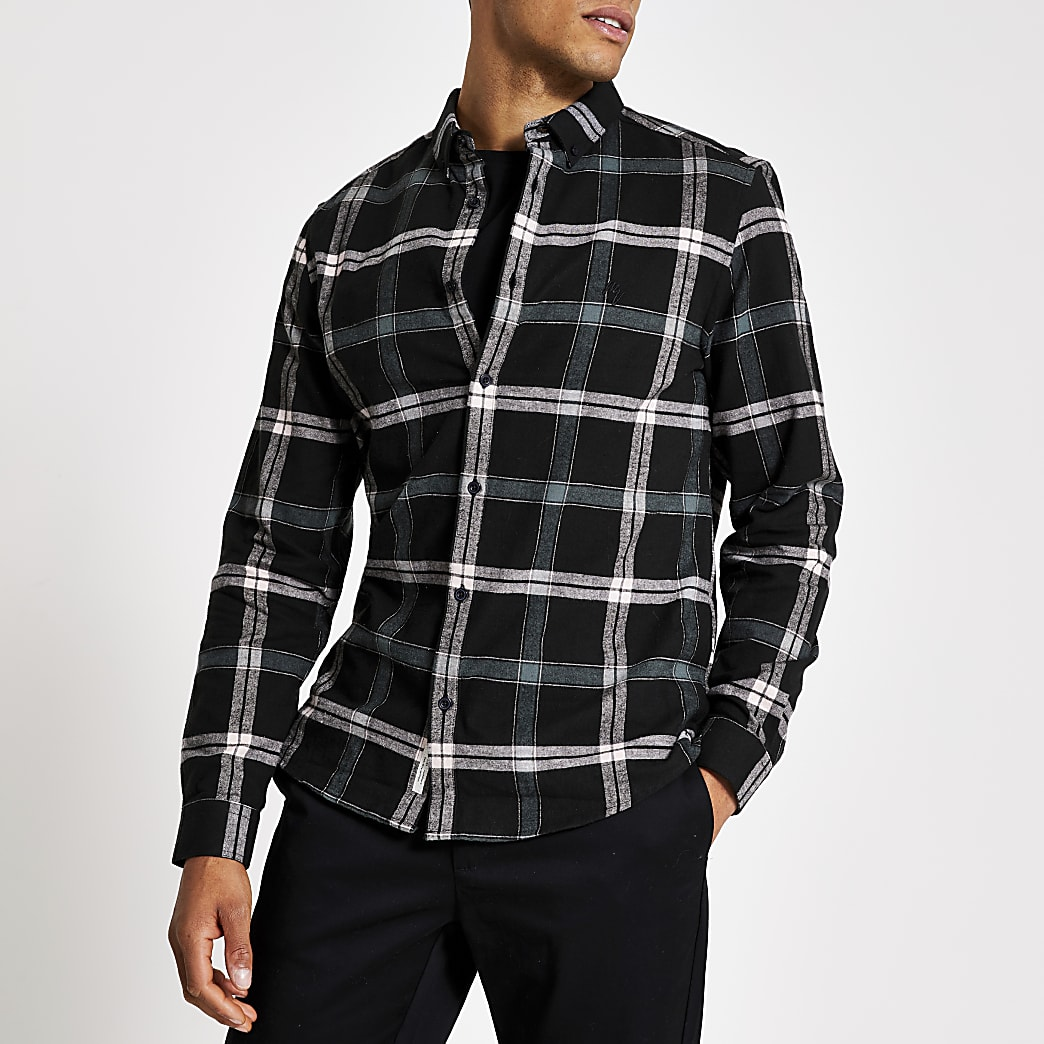 Black check print regular fit shirt