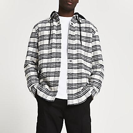 Black check print shacket