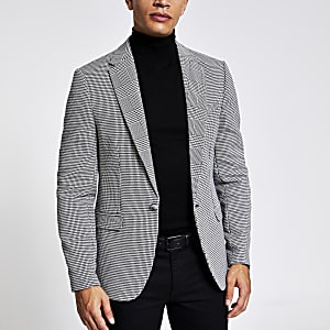 Zwarte geruite skinny-fit blazer