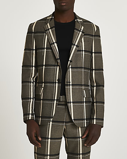 Black check print skinny fit suit jacket