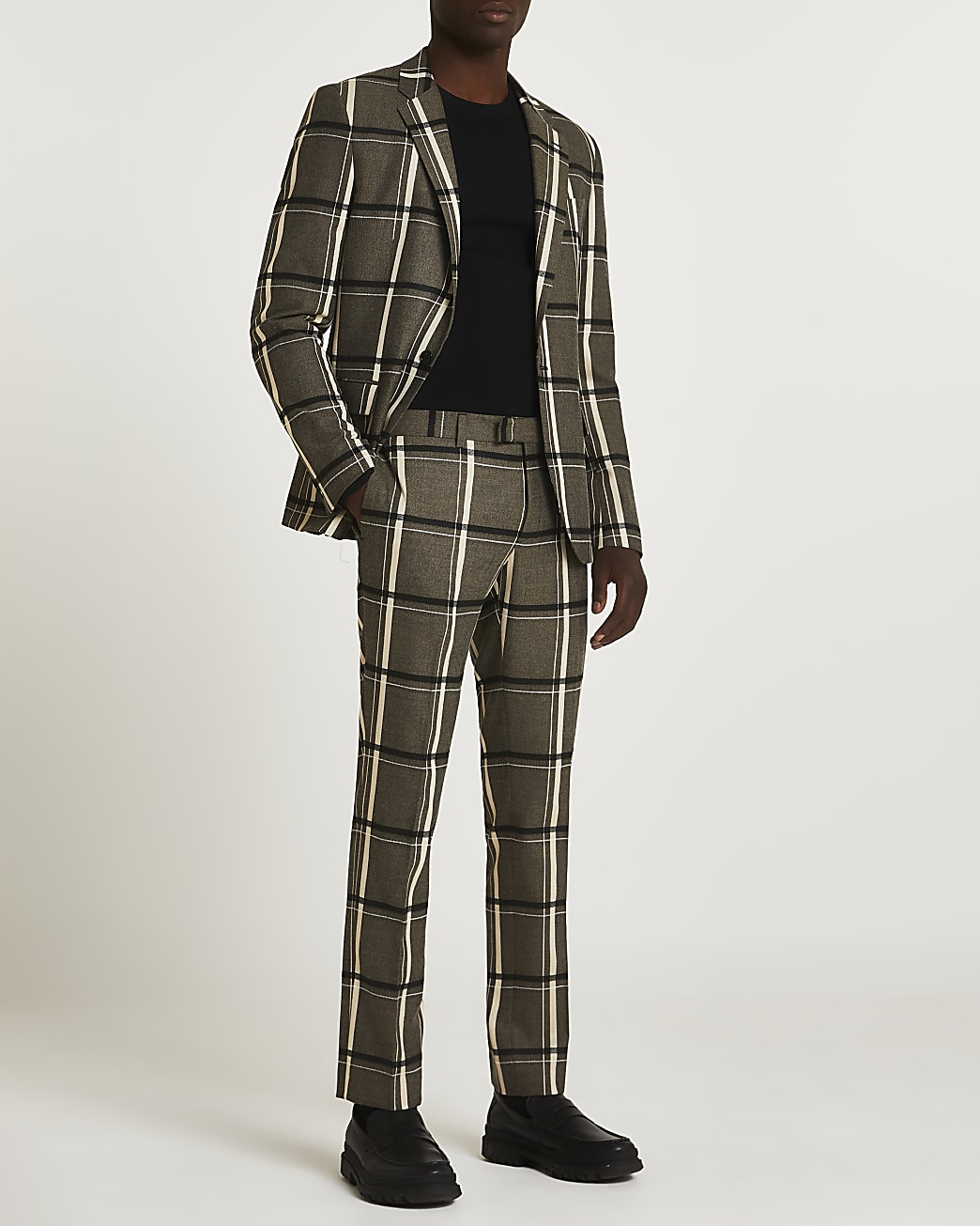 Black check print skinny fit suit trousers