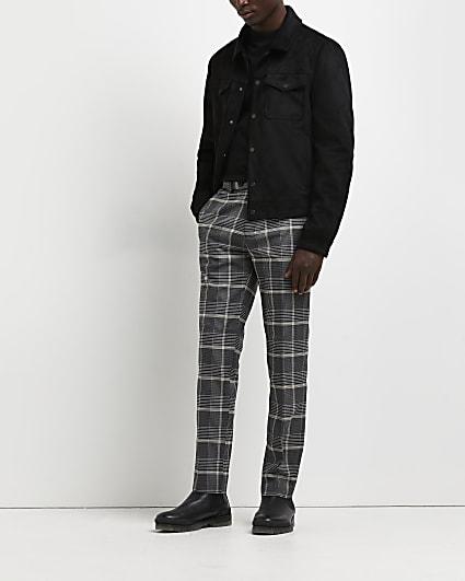 Black check print skinny trousers