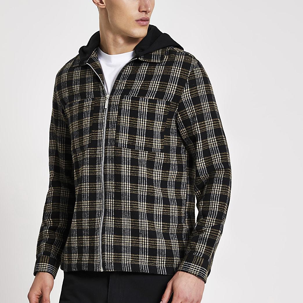 Schwarz kariertes Regular Fit Überhemd mit Kapuze