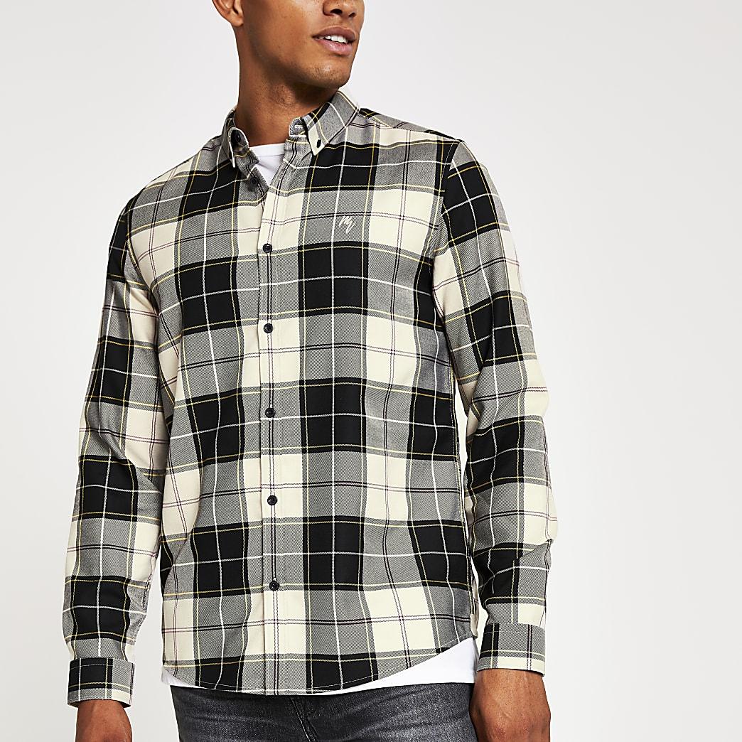 Langärmeliges Regular Fit T-Shirt mit Karomuster in Schwarz