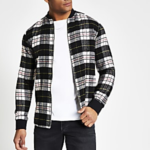 Black check regular fit zip front shirt