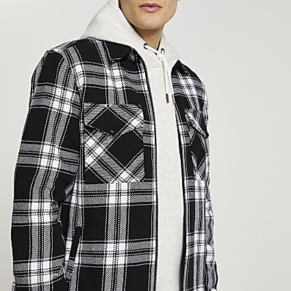 Black check shacket