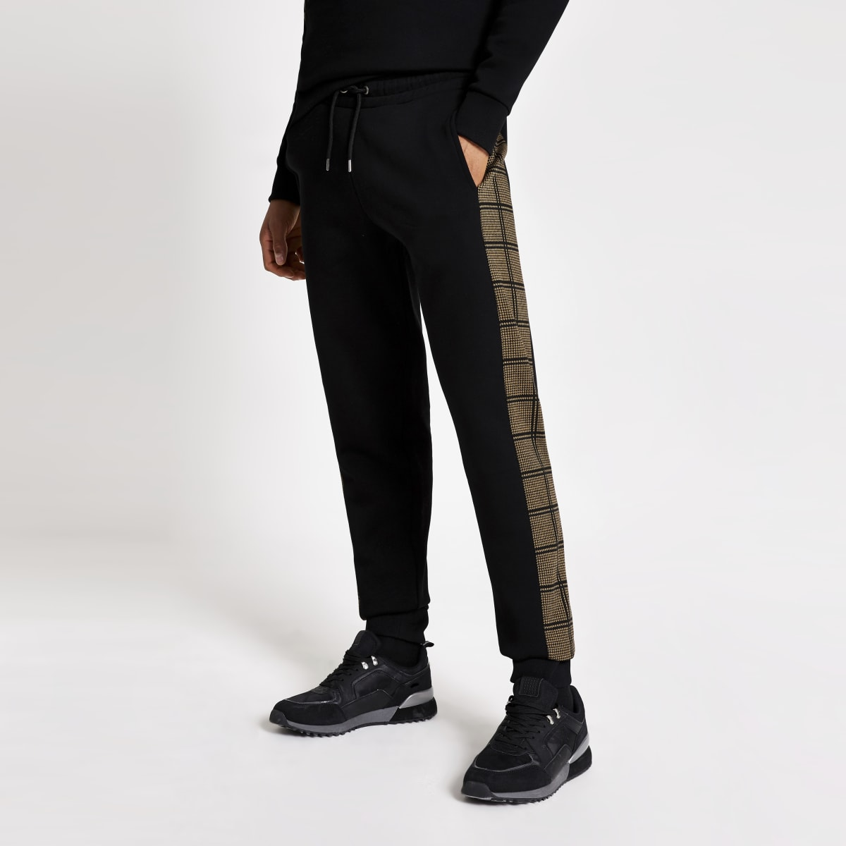 Black check side tape slim fit joggers