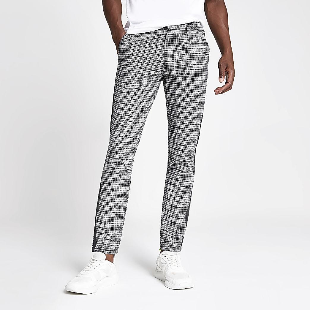 Pantalon skinny à carreaux noir
