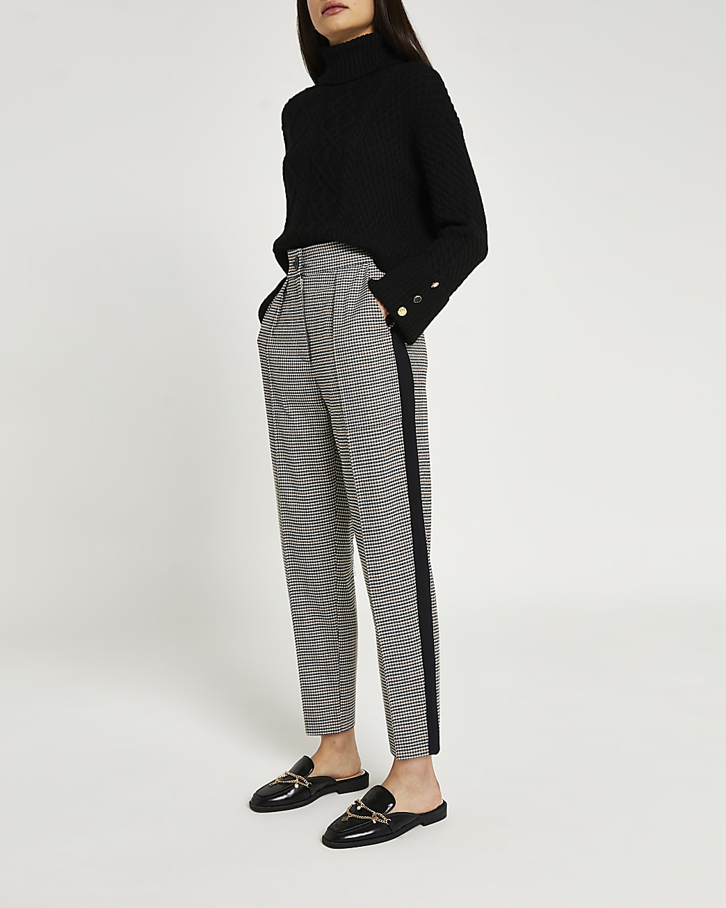 Black check tapered trousers