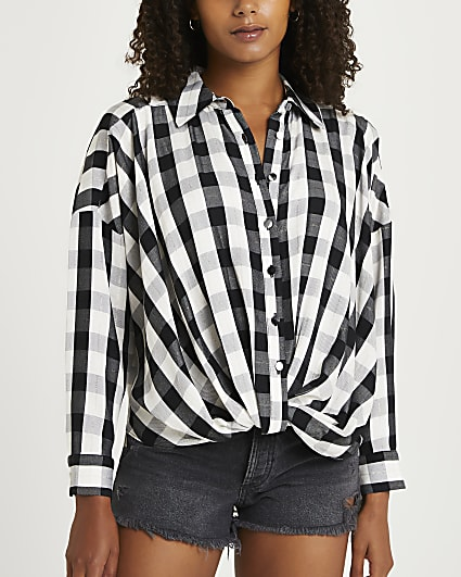 Black check twist front shirt