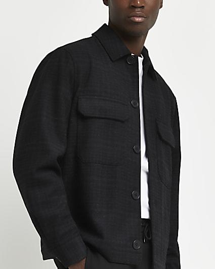 Black check wool button down shacket
