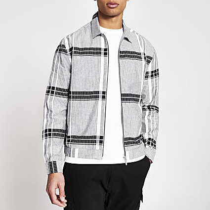 Black check zip front overshirt