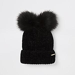 Bonnet en chenille noir avec pompon en fausse fourrure