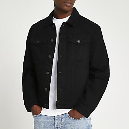 Black chest pocket denim jacket
