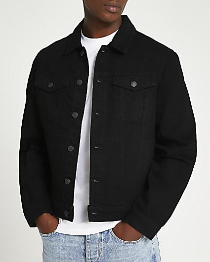 Black chest pocket regular fit denim jacket