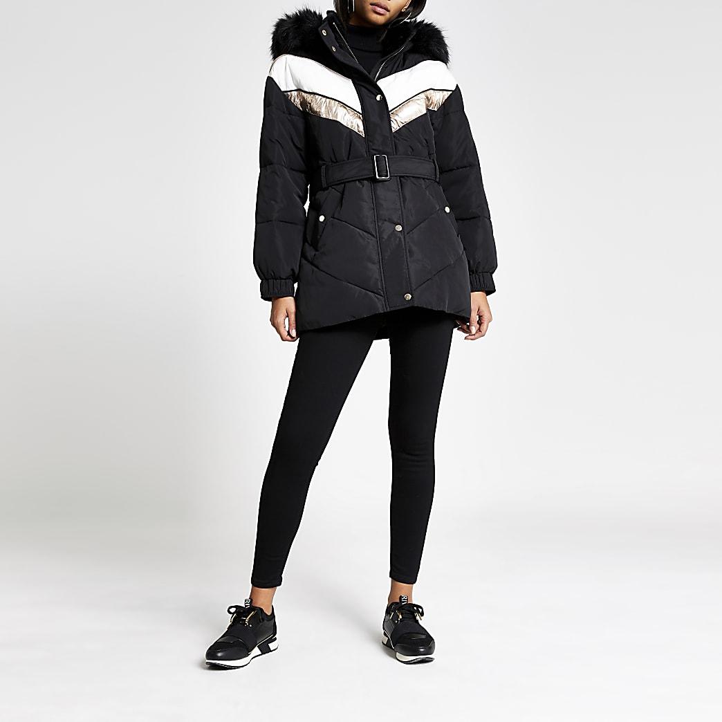 Black chevron block belted padded coat