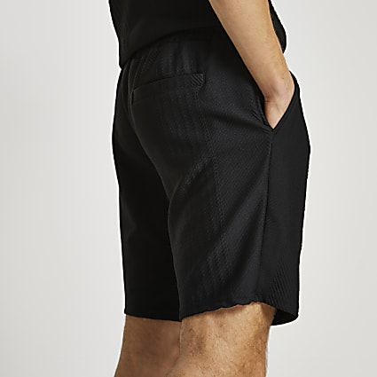 Black chevron slim fit shorts
