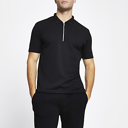 Black chevron slim short sleeve polo shirt
