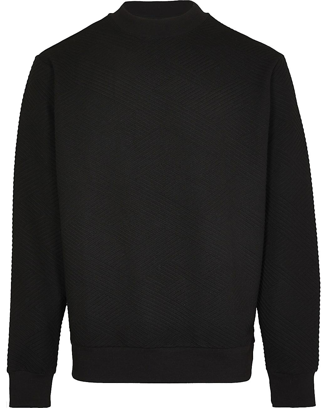 Black chevron textured sweatshirt