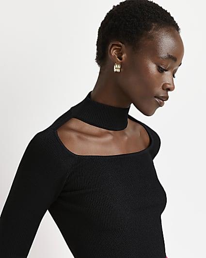 Black choker neck cut out top