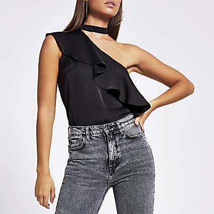 Black choker one sleeve frill top