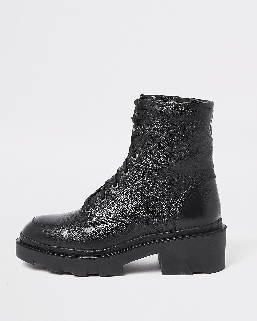 Black chunky biker boots