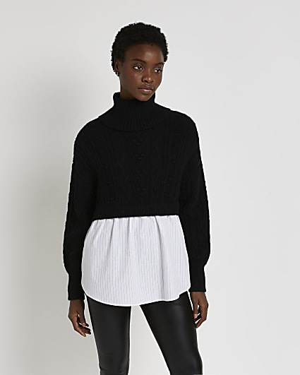 Black chunky cable knit shirt jumper