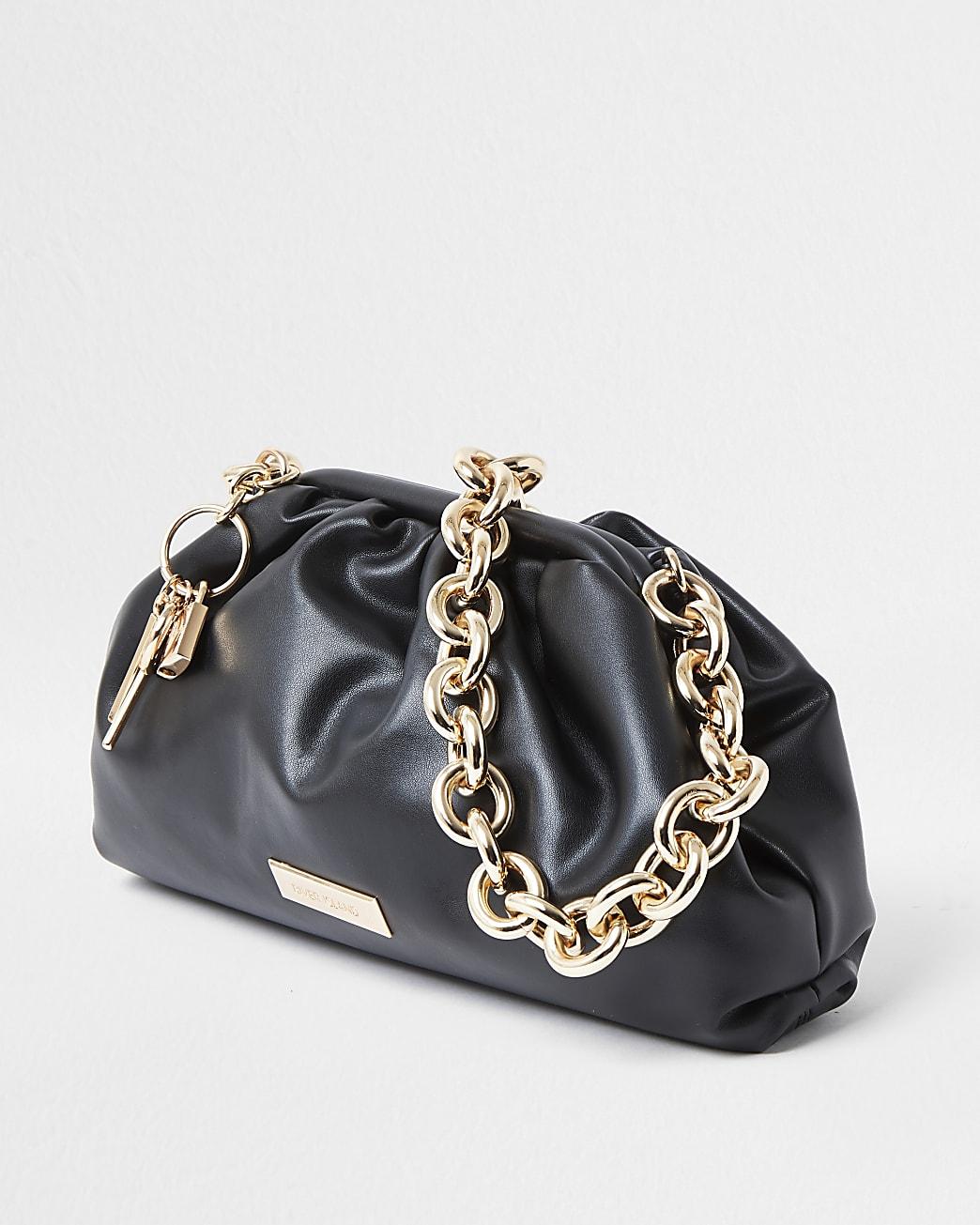 Black chunky chain ruched bag
