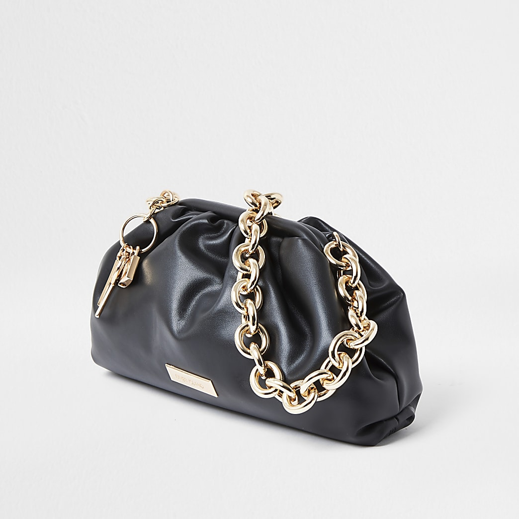 Black chunky chain ruched bag