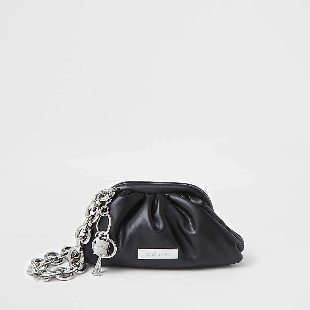 Black chunky chain ruched handbag