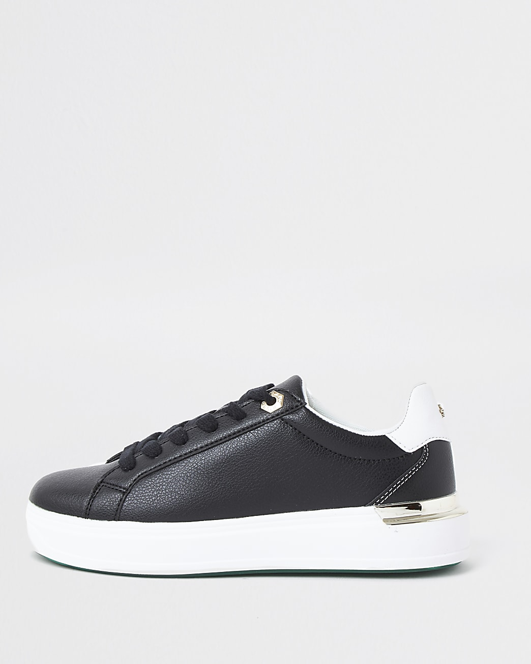 Black chunky flat lace up trainers